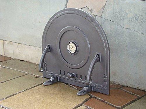 Backofentür Ofentür Pizzaofentür Holzbackofentür Steinbackofentür aus Gusseisen mit Thermometer | Außenmaße: 500x450 mm | Öffnungsrichtung: abnehmbar