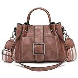 Moonuy,Damen Ledertasche, großzügige Retro-Umhängetaschen mit Corssbody Elegante Vintage Bag & Handtasche Hohe Kapazität Sattel Messenger Bags für Frauen (Rosa)