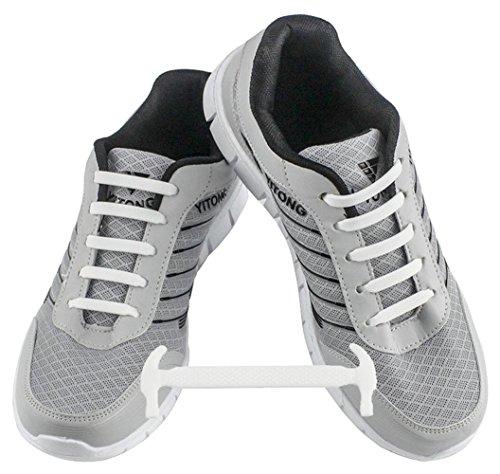 WELKOO Lacci elastici in silicone che non vanno allacciati, impermeabili, adatti a scarpe per adulti - 16 pezzi, Taglia ADULT bianco