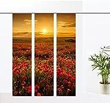 gardinen-for-life Flächenvorhang Mohnfeld - 3er - Serie, Set 3tlg, Jew. Gr.60x260 cm