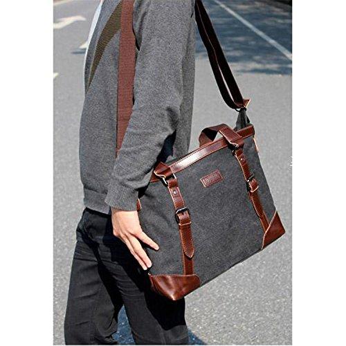 Outreo Aktentasche Herren Umhängetasche Laptop Handtasche Kuriertasche Vintage Schultertasche Schule Herrentaschen Retro Messenger Bag für Tablet Reisetasche Canvas Taschen Schwarz