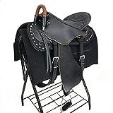 HenLooo Reitersattel aus Rindsleder, Brustkragen, 18 Zoll Sitz verfügbar,Black,L