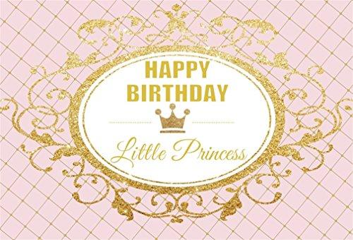 YongFoto 2,2x1,5m Vinilo Foto Hintergrund Geburtstag Kleine Prinzessin Goldene Krone Baby Show Fotografie Hintergrund für Fotoshooting Portraitfotos Party Kinder Fotostudio Requisiten
