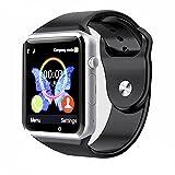 Reloj Inteligente Kivors con Bluetooth y Ranura para Tarjeta SIM para Usar Como Teléfono Móvil. Reloj Deportivo con Rastreador de Actividad, Podómetro Inteligente, Compatible con Android/iOS , Negro