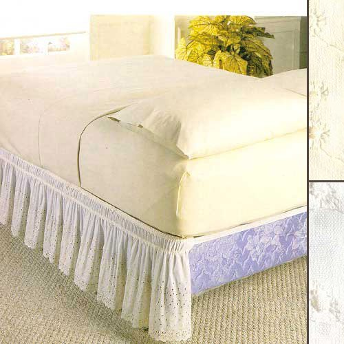 NEW WRAP AROUND EYELET LACE BED SKIRT / DUST RUFFLE - 18 DROP, TWIN/FULL, WHITE by Madison Industries Lace Wrap-around Wrap