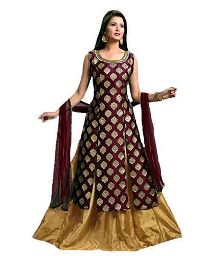 Riyan Enterprise Women's Latest Designer Party Wear Maroon Color Gown, Indo Western...