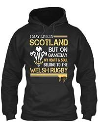 teespring Men's Novelty Slogan Hoodie - My Heart Soul Belong To The Welsh Rugby