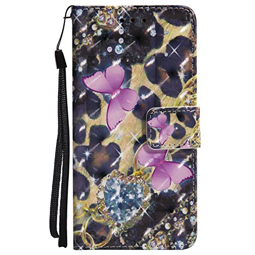 Custodia Cover per iPhone 6 Plus / iPhone 6S Plus Cover Pelle, Libro Portafoglio Elegante 3D Disegno Colorate Wallet Case, Hancda Custodia Flip in Pelle Antiurto Stand Book Con Magnetica Porta Carte d Farfalle
