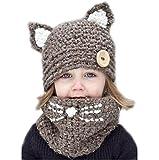 MILEEO Junge Mädchen Schalmütze Baumwolle Winter Strickmütze Kindermütze Kombi-Set Süß Tier Zwei Stile Fuch/Katze Mütze Warm, Farbe: Style 1, Gr. One size