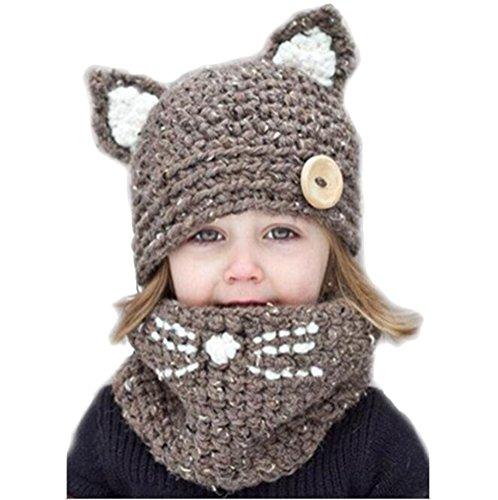 MILEEO Junge Mädchen Schalmütze Baumwolle Winter Strickmütze Kindermütze Kombi-Set Süß Tier Zwei Stile Fuch/Katze Mütze (Mit Hut Katze Schal)