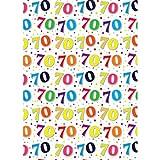 Simon Elvin - Carta regalo per i 70 anni - 24 fogli (One Size) (Bianco/multicolore)
