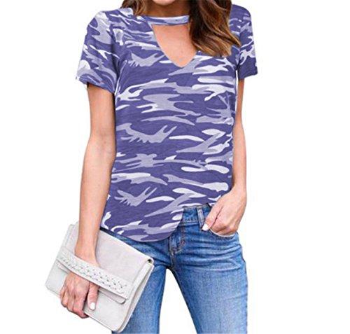 Damen Tarnung Stil T-Shirt Beiläufig V-Ausschnitt Tops Bluse Kurzarm Lila