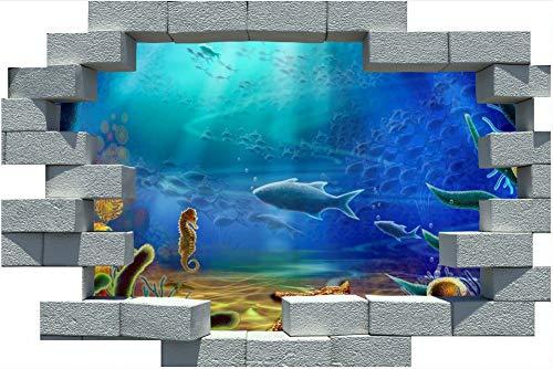 PANDABOOM 3D Broken Brick Wall Aufkleber Coral Reef Fish Sea Wandbild Aufkleber Für Wohnzimmer Kinderzimmer Selbstklebende PVC Wasserdicht 60X90Cm
