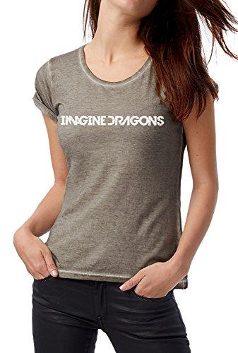 LaMAGLIERIA T-Shirt Donna Vintage Look Imagine Dragons D COD. Grpr0081 - Maglietta DNM Plug in Effetto Vintage con Stampa Rock Grey Clash