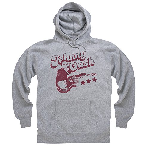 Official Johnny Cash Felpa con cappuccio Retro, Uomo, Grigio mélange, XL