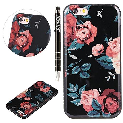 iPhone 6S Plus Housse de iPhone 6plus Coque, saincat couleur Motif floral doux TPU Cadre avec PC couvercle arrière dur Housse étui avec trou bändsel légère à revêtement stoßdämpfende brillant paillet rose