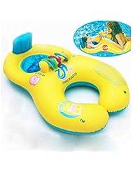 Liu MEI Parent et sécurité bébé gonflable de natation Cercle double anneau de natation Swim Float (Jaune)