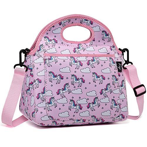 Kasgo borsa termica per ragazza, neoprene borsa porta pranzo per bambini isolato borsa termica pranzo scuola borse alimenti con tasca frontale e tracolla regolabile staccabile unicorno