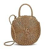 Belle Vannes Damen Runde Stroh Tasche Strandtasche Korbtasche Umhaengetasche Schultertasche Damentaschen Handtasche mit Reißverschluss für den Sommer Original