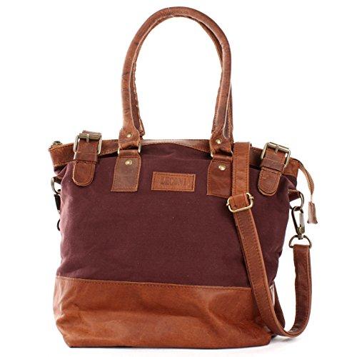 Schultertasche Damentasche Handtasche kleiner Freizeit Shopper Beuteltasche aus Leder + Canvas für Damen 37x33x12cm schwarz LE0056-C Leconi 3qgjWPIeOm