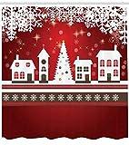 Abakuhaus Weihnachten Duschvorhang, Winter-Thema-Baum, Waschbar und Pflegeleicht mit 12 Haken Hochwertiger Druck Farbfest Langhaltig, 175 x 200 cm, Rot-weiß