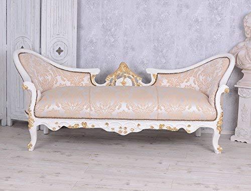 Unbekannt Barock Sofa Sitzbank Antik Prunksofa Creme Gold Vintage Salonsofa