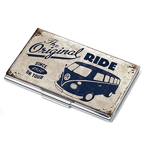 VW THE ORIGINAL RIDE BULLI Visitenkartenetui - #CDC10-A602 - mehrfarbig - Metall - Motiv: THE ORIGINAL RIDE BULLI - Official licensed by VOLKSWAGEN - passend für ca. 11 Karten - Original von TROIKA Hawaii-original-kunst