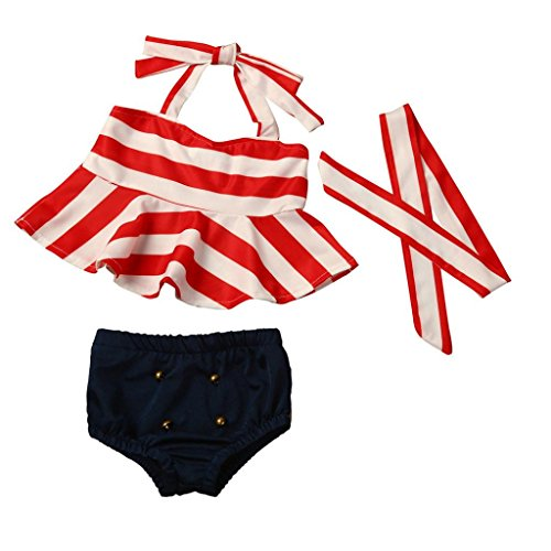 H-fragrance Baby-Mädchen 3PCS Streifen-Oberseite + schwarzer Brief + Streifen-Stirnband-Bikini-Satz (12 Monate)