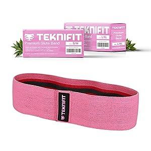 Teknifit Booty Builder Premium Trainingsband Resistenzband für Po und Hüften – Elastisches Rutschfestes Widerstandsband Rosa/Pink