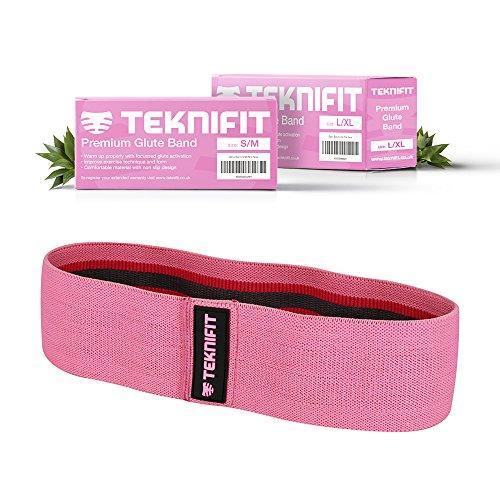 Teknifit booty builder – elastico fitness per glutei banda di resistenza per esercizi di tonificazione e brucia grassi – fascia elastica rosa antiscivolo per donna. per gambe e glutei perfetti