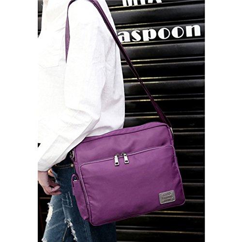 MeCooler Messenger Bag Vintage Umhängetasche Nylon Taschen Kuriertasche Retro Schultertasche Damen Herren für Tablet Schultaschen Sport Lila