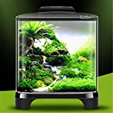 YANFEI 7L Desktop Mini Eco Planta Potencia Interior Iluminación Acuario Transparente Escritorio Regalo Creativo con Cubierta Fish Tank