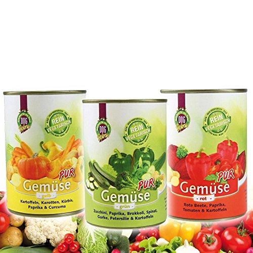 DOGREFORM Gemüse pur 36 x 410g grün rot gelb Jetzt als Sparpaket Ideal zum BARF en Diätfutter für Hunde 100% hochwertiges Gemüse Frei von Getreide Fleisch Soja Haltbarkeitsstoffen Zusatzstoffen