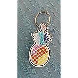 Schlüsselanhänger, Taschenbaumler, Kunstleder, bunte Ananas