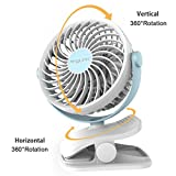 Clip on Fan, Usb Fan AngLink Mini Desk Fan Portable Rechargeable Battery Operated for Laptop Table Workout Baby Stroller Car Camping Home Office