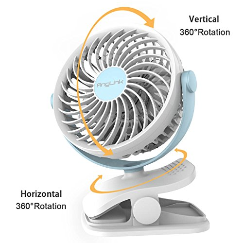 – AngLink Mini Ventilatore USB con Clip e Batteria Ventilatore da Tavolo Rotazione di 360 °   4 velocità potente e silenzioso per scrivania,auto,casa ufficio,viaggiare recensioni dei consumatori