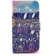 GeniusMALL Premium PU Cuero Funda Folio Carcasa para Motorola Moto G 2 ª Generación 2014 XT1068 (G2) Piel Case Cover +Stylus +Protector de la pantalla + paño limpieza(10)