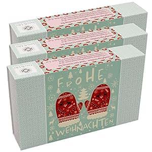 3er-Set Geschenkboxen: 3 Stück Blütenrausch Handpflege Grußboxen, jede Box mit 3 Handcremes in handlichen Reisegrößen, Motiv X-MAS Handschuhe mit rückseitigem Grußfeld