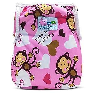 MARIPOSA | Costume contenitivo bambino e neonato per piscina e mare (0-2 anni) Regolabile e Lavabile - Confezione da 2 con borsetta contenitiva impermeabile (Gufetti e Scimmiette)