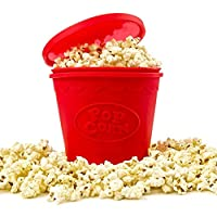 SMYLLS Microwave Popcorn Popper Red Reusable Silicone Microwave Popcorn Maker