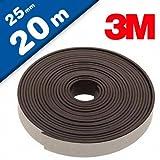 Magnetband Magnetstreifen selbstklebend mit 3M Kleber 1,6mm x 25mm x 20m - starker 3M-Kleber auf der Rückseite, optimale Haftkraft - 1 Rolle