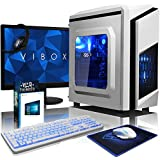 VIBOX Pyro SA10-320 Paquet - 3,8GHz AMD A10 Quad-Core CPU, Ordenador de sobremesa vale de juego, con monitor, Windows10, Iluminaciàninterna azul (3,5GHz (3,8GHz Turbo) AMD A10-9700 10-Core (4 CPU + 6 GPU) AM4 Procesador, 32 GB Memoria RAM de DDR4, velocidad de RAM: 2133MHz, Superrápido120GBunidad de estadosàlidoSSD, 2TB(2000GB)SataIII7200 rpmdiscoduroHDD, Fuente de alimentaciàn de 85 +PSU 400W, CIT de F3 cajaBlanco, AdaptadorWiFi de 150MBs)