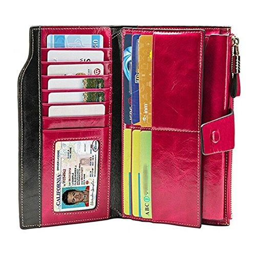 Vintage Geldbörse, Canvalite Elegant Unisex Damen Herren multifunktional Portemonnaie mit Kartenhalter, Rindsleder, lang für Freizeit Reise Business pink
