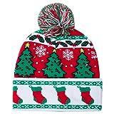 AIDEAONE Leuchten Hut Weihnachten Socken gedruckt blinken Beanie Mütze Winter Schnee Pullover hässlichen Hut Mützen