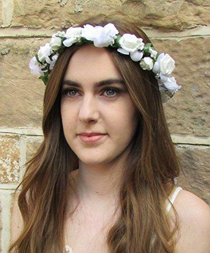 Blanc Rose Fleur Bandeau cheveux Couronne Couronne Festival Boho Guirlande Ruban Z99 * * * * * * * * exclusivement vendu par – Beauté * * * * * * * *