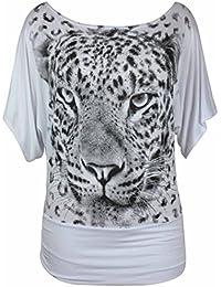 Neuf Femmes Léopard Tigre Imprimé Animal Court Manche Chauve-souris T-Shirt femmes Manche Courte imprimé Extensible Haut Grande Taille