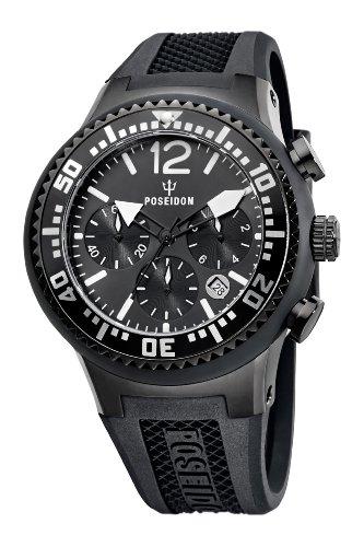 Poseidon Herren-Armbanduhr XL POSEIDON L Chrono Analog Quarz Silikon P-00456