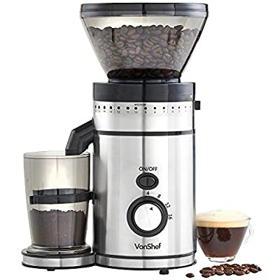 VonShef Premium Burr Coffee Grinder with 18 Adjustable Settings, Makes 4-16 Cups from VonShef