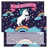 Partycards Set di 12 inviti Compleanno Biglietti invito per Festa Compleanno per Bambini e Adulti in Italiano - Unicorno Arcobaleno