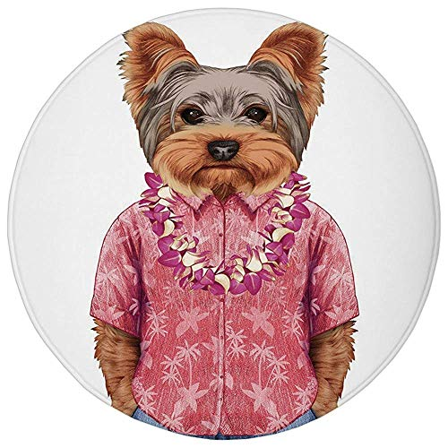 Round Rug Mat Carpet,Yorkie,Portrait of a Dog in Humanoid Form with a Pink Shirt with Hawaian Lei Fun Image Decorative,Multicolor,Flannel Microfiber Non-slip Soft Absorbent,for Kitchen Floor Bathroom -